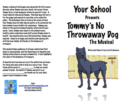 Playbill Sample | Tommy the Throwaway Dog | Laura Marlowe